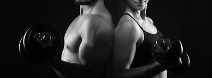 Homem perfeito e partes superiores do corpo fêmeas fotos de stock