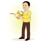 Homem, pessoa com a lâmpada de Aladdin Imagens de Stock