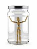 Homem prendido no frasco de vidro Fotografia de Stock