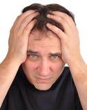 Homem preocupado com close up do esforço Imagem de Stock Royalty Free