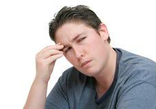 Homem preocupado da dor de cabeça fotografia de stock royalty free