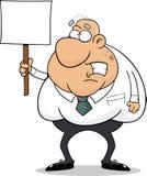 Homem preocupado desenhos animados com sinal Foto de Stock