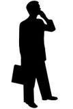 Homem preto da silhueta no branco Fotos de Stock Royalty Free