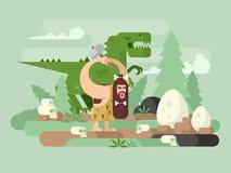 Homem primitivo com dinossauro ilustração royalty free