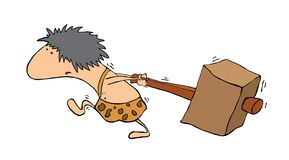 Homem primitivo com um martelo, vetor Imagens de Stock
