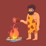 Homem primitivo da Idade da Pedra na pele animal do couro cru ilustração do vetor