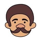 Homem principal com o bigode do homem macho ilustração royalty free