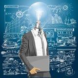 Homem principal da lâmpada com portátil Fotografia de Stock Royalty Free