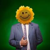 Homem principal de sorriso do girassol Imagens de Stock Royalty Free