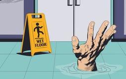 Homem que afoga-se no assoalho molhado Sinal de aviso Ilustra??o conservada em estoque ilustração royalty free