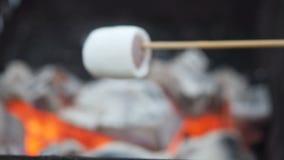 Homem que amarra marshmallows em um espeto e em começos para fritar nos carvões exteriores O marshmallow em espetos é fritado na  vídeos de arquivo