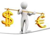 Homem que anda em uma corda. Balanço do dólar e do euro Fotos de Stock Royalty Free