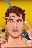 Homem que aplica vários produtos de beleza à cara Imagem de Stock