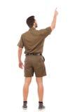 Homem que aponta acima Vista traseira Imagens de Stock