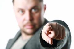 Homem que aponta com dedo Fotografia de Stock