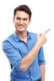 Homem que aponta o dedo Foto de Stock