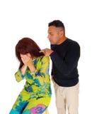 Homem que aponta o dedo na esposa de grito Fotos de Stock