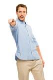 Homem que aponta o potrait branco feliz ocasional do fundo foto de stock royalty free