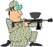 Homem que aponta uma arma do paintball Fotos de Stock Royalty Free