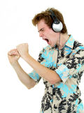 Homem que aprecia a música Imagens de Stock