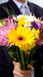 Homem que apresenta flores Fotos de Stock