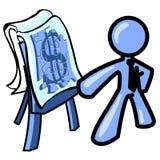 Homem que apresenta planos empresariais ilustração stock