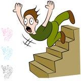 Homem que cai para baixo vôo de escadas Imagem de Stock Royalty Free