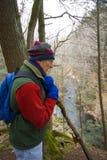 Homem que caminha nas madeiras Imagem de Stock Royalty Free