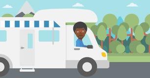 Homem que conduz a ilustração do vetor da roulotte Imagem de Stock Royalty Free