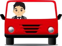 Homem que conduz o vermelho do carro Imagens de Stock