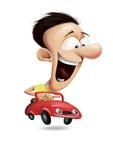 Homem que conduz um carro vermelho Imagens de Stock