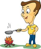 Homem que cozinha em seu assado Fotografia de Stock
