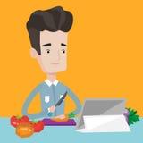 Homem que cozinha a salada vegetal saudável ilustração do vetor