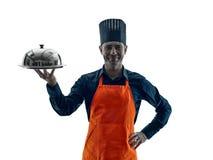 Homem que cozinha a silhueta do cozinheiro chefe isolada Foto de Stock