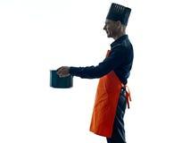 Homem que cozinha a silhueta do cozinheiro chefe isolada Fotografia de Stock Royalty Free