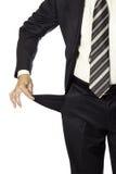 Homem que demonstarting o bolso vazio isolado. conceito falido. Foto de Stock Royalty Free