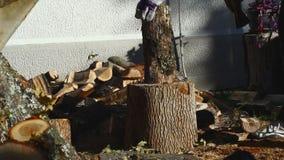 Homem que desbasta a madeira com um machado 12 video estoque