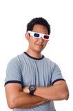 Homem que desgasta os vidros 3D Fotografia de Stock Royalty Free