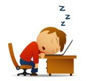 Homem que dorme na tabela de trabalho sobre o portátil ilustração stock