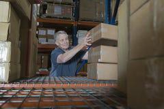 Homem que empilha caixas no armazém imagem de stock