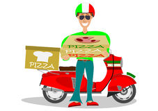 Homem que entrega a pizza Imagens de Stock Royalty Free