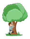 Homem que escala em uma ilustração do vetor da árvore ilustração royalty free