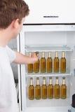Homem que escolhe a garrafa da cerveja Imagens de Stock Royalty Free