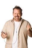 Homem que escuta a música com expressão fotos de stock royalty free