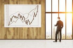Homem que examina o gráfico gigante na parede Fotografia de Stock