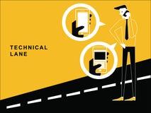 Homem que fala na estrada ilustração stock