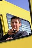 Homem que fala no rádio Fotografia de Stock Royalty Free