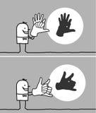Homem que faz as sombras animais com suas mãos Fotografia de Stock