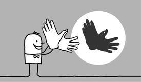 Homem que faz a sombra do pássaro com mãos ilustração stock