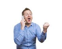 Homem que faz um atendimento de telefone imagens de stock royalty free